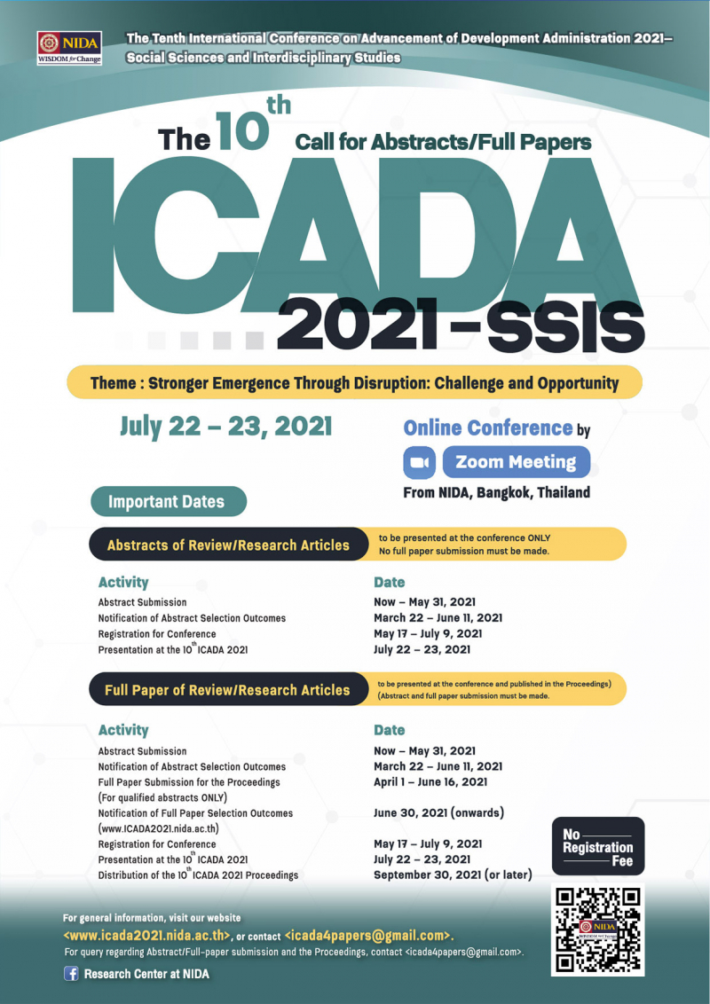 The Tenth International Conference on Advancement of Development Administration 2021— Social Sciences and Interdisciplinary Studies (the 10th ICADA 2021—SSIS)