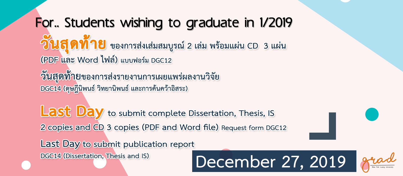 Last day to submit complete Thesis 1/2019
